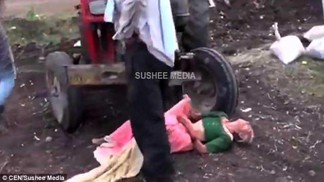 Nežēlīgs dēls nogrūž māti traktora priekšā, lai to apturētu (VIDEO – nepatīkami skati)
